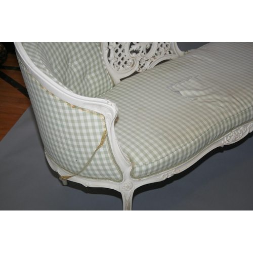 25 - Antique painted French style chaise longue and upholstered top centre stool 150 W x 80 H x 60 D