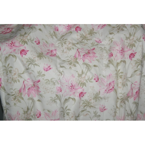 26 - Two pairs lined curtains with floral pattern (1st pair lilac colour & 2nd pair pink) 300 W x 260 H a...