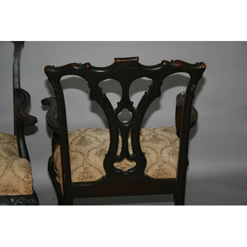 29 - Fine pair of Chippendale style mahogany arm chairs 70 W x 100 H x 70 D
