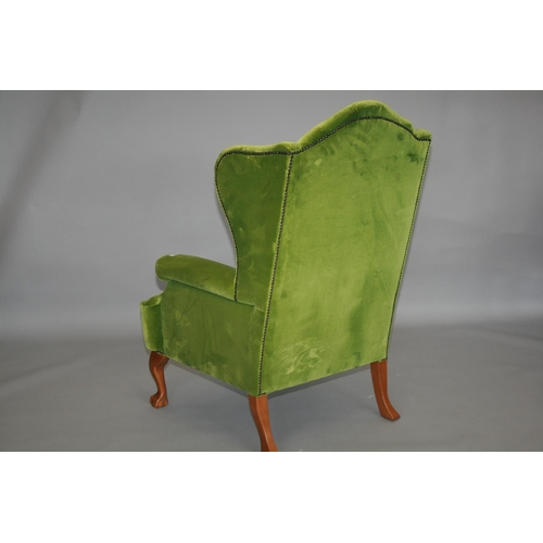 34 - Chippendale style velvet upholstered wing back arm chair 80 W x 120 H x 75 H
