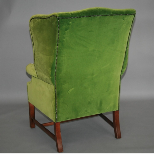 35 - Georgian style velvet upholstered chair with deep buttoned upholstery 80 W x 120 H x 80 D