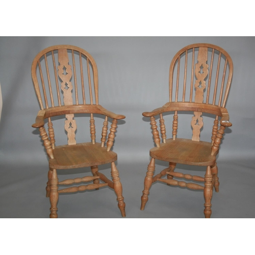 36 - Fine pair of ash Windsor arm chairs 70 W x 120 H x 60 D