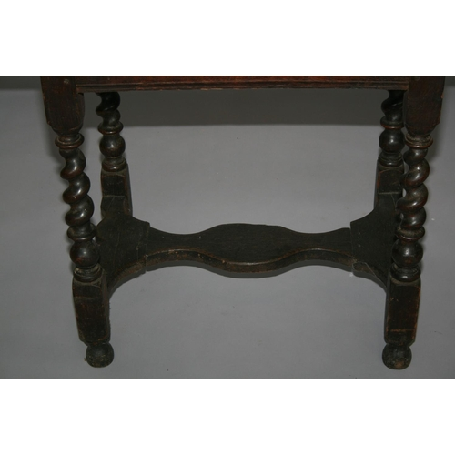 38 - 17th Century oak side table of rectangular form on barley twist supports 80 W x 70 H x 49 D