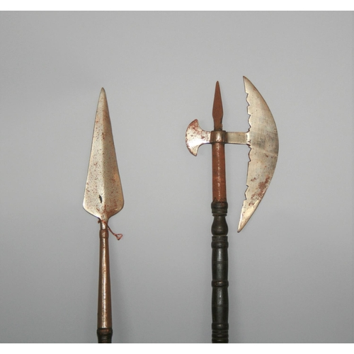 39 - Medieval style spear and axe 124 H