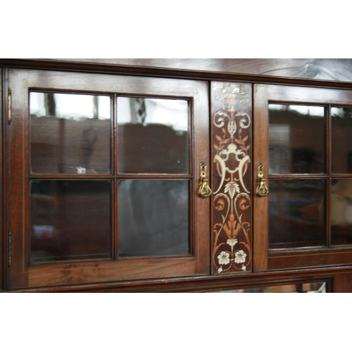 42 - Very fine Edwardian mahogany side cabinet with ivory and fruitwood marquetry panels 122 W x 200 Hx 4...