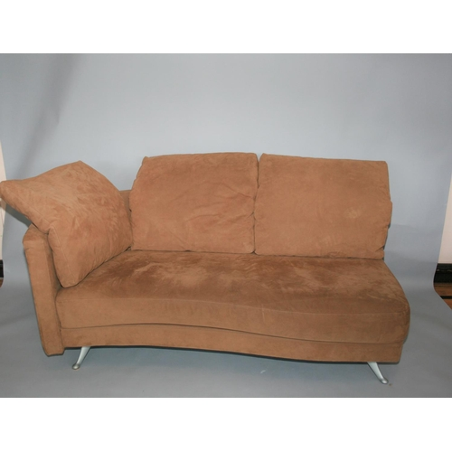 43 - Rolf Benz suede covered sofa and matching foot stool 180 W x 70 H x 85 D