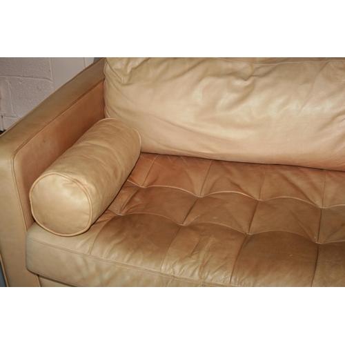 45 - Vintage Rolf Benz tanned colour leather sofa 230 W x 70 H x 105 D