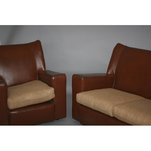 46 - Vintage leatherette two seater and matching chair 132 W x 85 H x 80 D