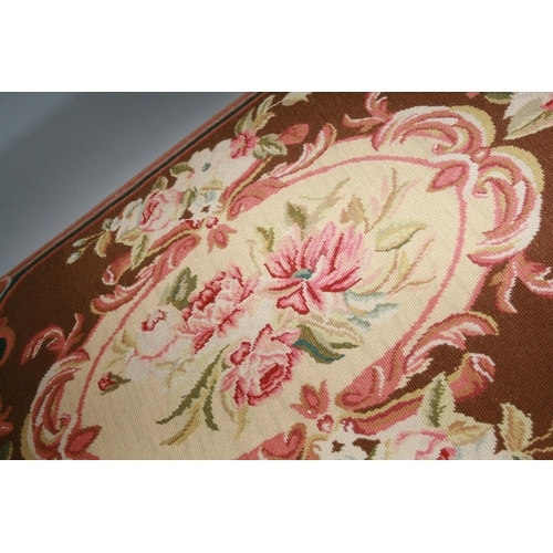47 - Very fine Victorian mahogany framed stool with original tapestry upholstery 150 W x 50 H x 90 D