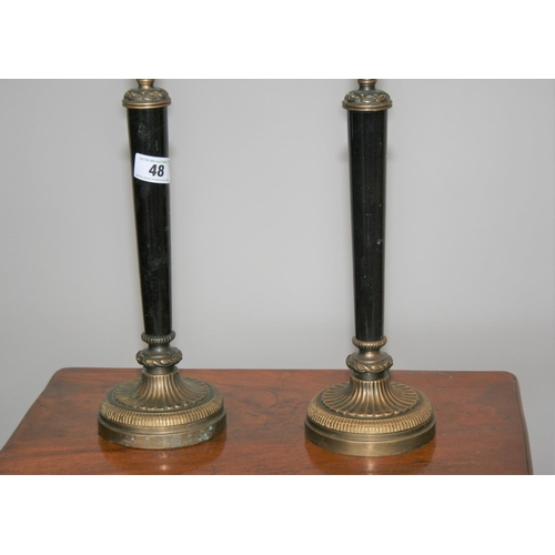 48 - Pair of quality brass and marble occasional lamps 14 W x 40 H