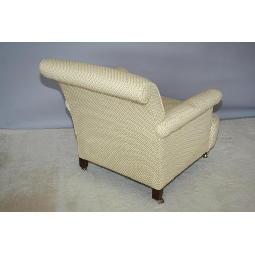 50 - Edwardian upholstered occasional armchair on brass casters 75 W x 80 H x 90 D