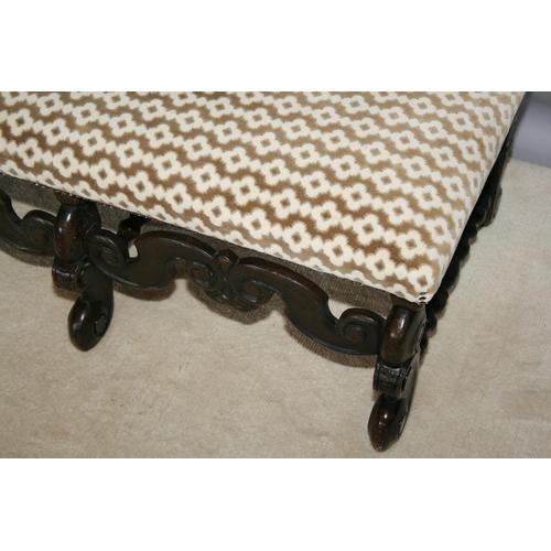 53 - Jacobean style centre stool of rectangular form 110 W x 40 H x 50 D