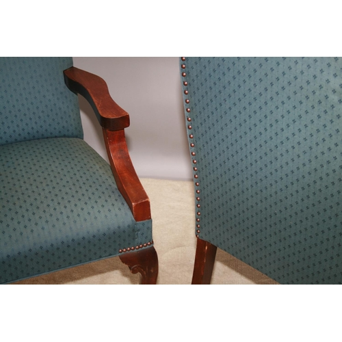 54 - Pair of Queen Ann style mahogany framed armchairs 62 W x 100 H x 56 D
