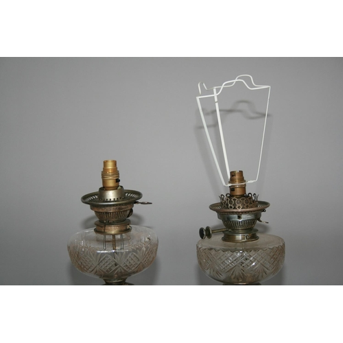 57 - Fine pair of Edwardian silver plated oil lamps by HINKS, converted (damage to one bowl) 15 W x 50 H
