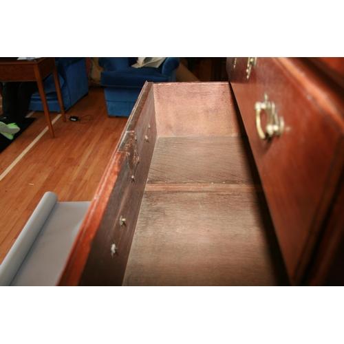 58 - Fine Irish Georgian mahogany tall-boy chest of 8 graduated drawers standing on bracket feet  70 W x ...