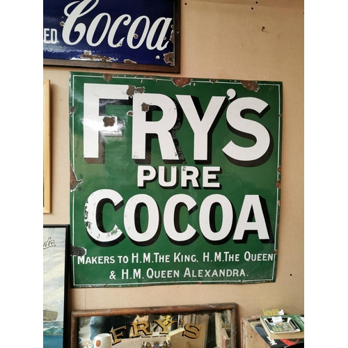 1 - Rare Fry's Pure Cocoa enamel advertising sign {92 cm H x 91 cm W}.