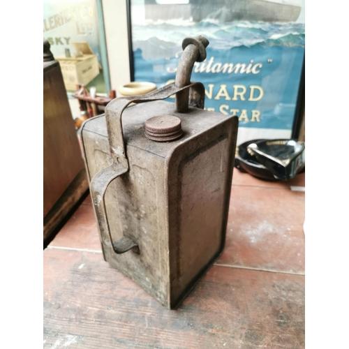 12 - 1950s Esso Blue paraffin advertising oil can {35 cm H x 14 cm W x 20 cm D}.