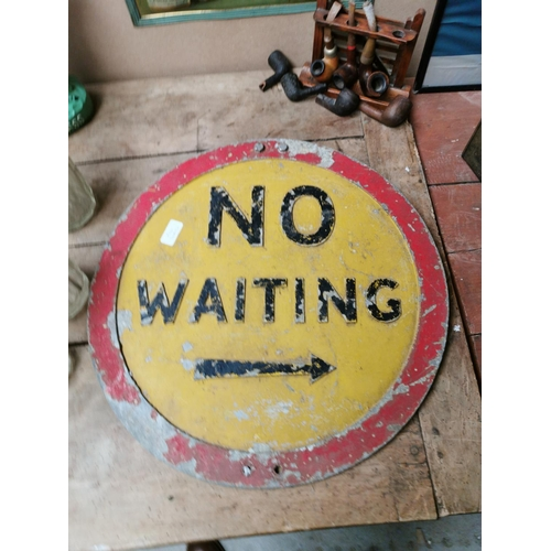 15 - No Waiting alloy advertising road sign {51 cm Dia.}.