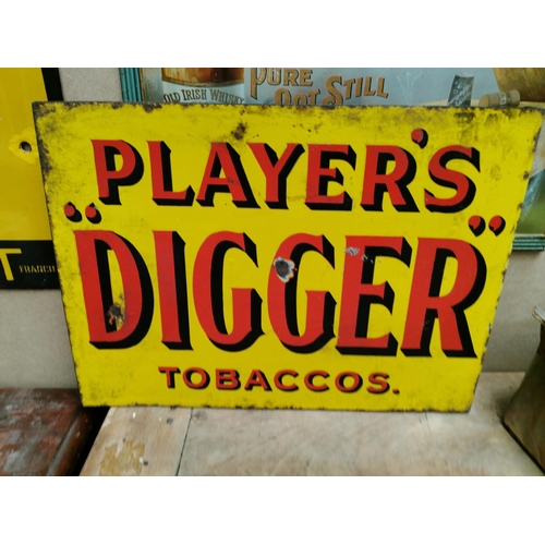 26 - Double sided Players Digger Tobacco enamel advertising sign {30 cm H x 41 cm W}.
