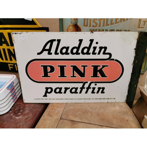 27 - Double sided Aladdin Pink Paraffin enamel advertising sign {35 cm H x 54 cm W}.