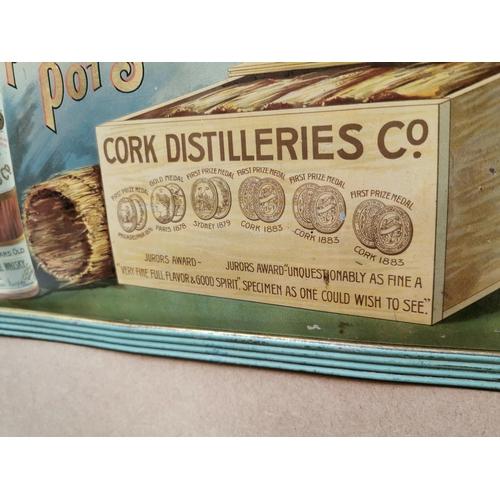 28 - Cork Distillers Pure Pot Still Irish Whiskey tinplate advertising sign {32 cm H x 42 cm W}.