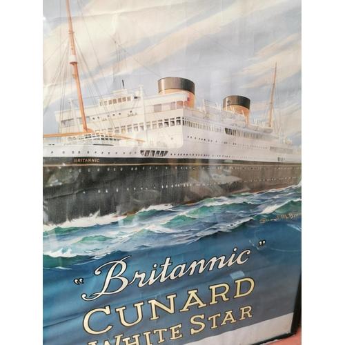 3 - Original Britannic Cunard advertising poster {75 cm H x 50 cm W}.