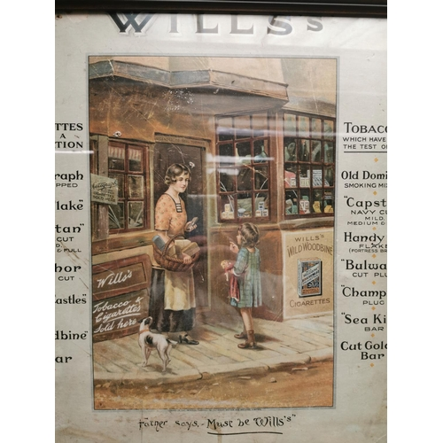 32 - Rare Will's tobacco pictorial framed advertising showcard {60 cm H x 50 cm W}.