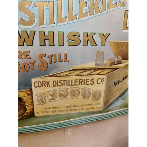 34 - Cork Distillers Pure Pot Still Irish Whiskey tinplate advertising sign {32 cm H x 42 cm W}.