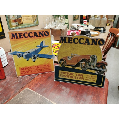 38 - Two 1950s Meccano advertising showcards {25 cm H x 21 cm W}.