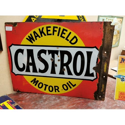 40 - Wakefield Castrol Motor Oil double sided enamel advertising sign {40 cm H x 54 cm W}.