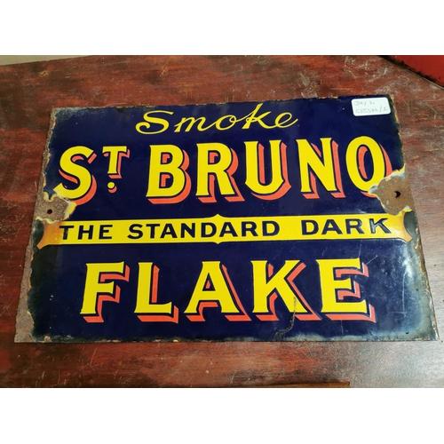 41 - Smoke Walnut Plug enamel advertising sign {26 cm H x 38 cm W}.