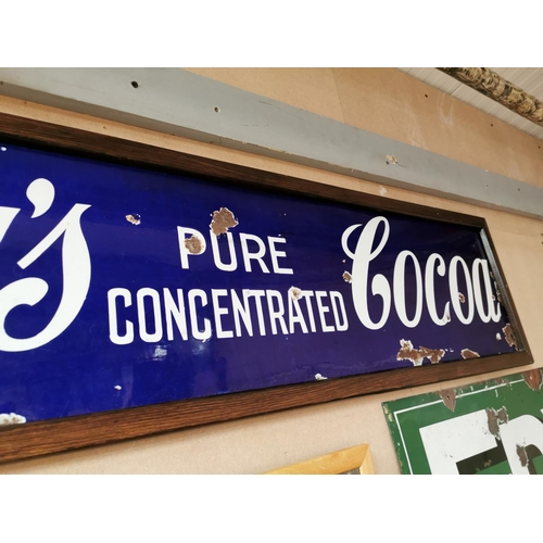 5 - Fry's Pure Concentrated Cocoa enamel framed advertising sign. { 33cm H X 124cm W }.