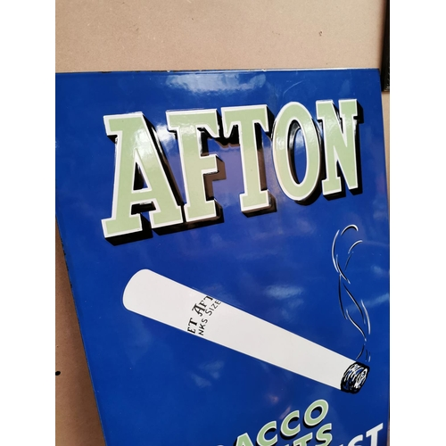 50 - Afton Tobacco At Its Best enamel advertising sign {92 cm H x 61 cm W}.