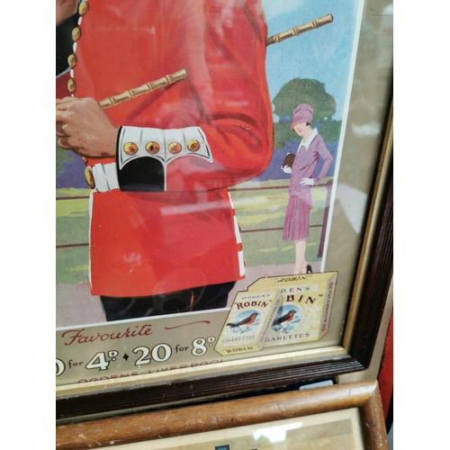 51 - Ogden's Robin The Popular Cigarette framed advertising showcard {55 cm H x 43 cm W}.