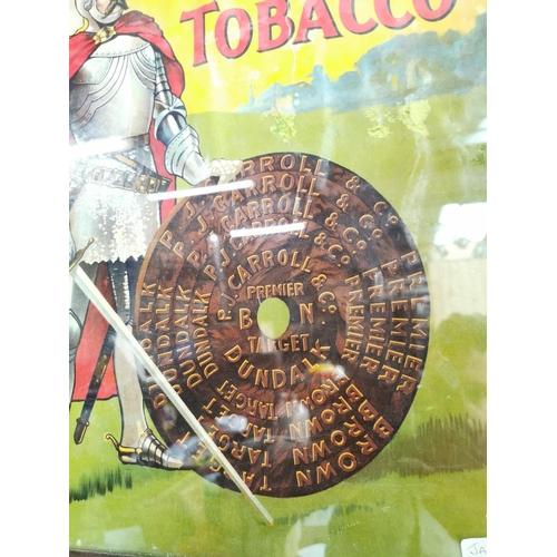 52 - Rare Carroll's Dundalk Premier Target Tobacco advertising showcard in original frame {59 cm H x 48 c...