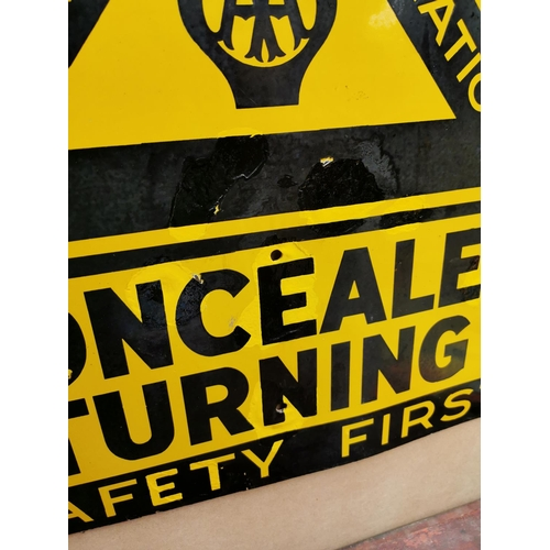 53 - AA Automobile Association Concealed Turning enamel advertising sign {61 cm H x 67 cm W}.