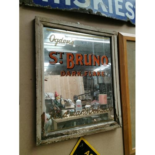54 - Ogden's St. Bruno's Dark Flake Tobacco advertising mirror. { 57cm H X 47cm W }.