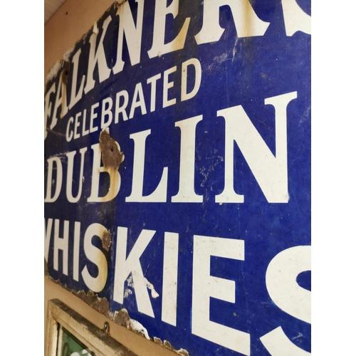 55 - Rare The Falkner's Celebrated Dublin Whiskies enamel advertising sign. { 56cm H X 84cm W }.