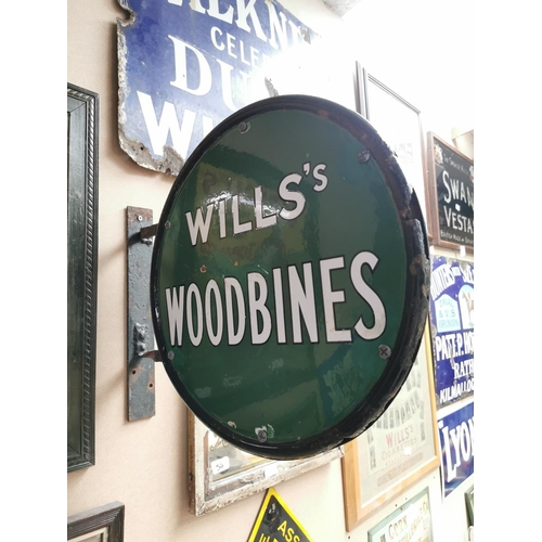 56 - Will's Woodbine cigarettes double sided enamel advertising sign {46 cm H x 48 cm W}.