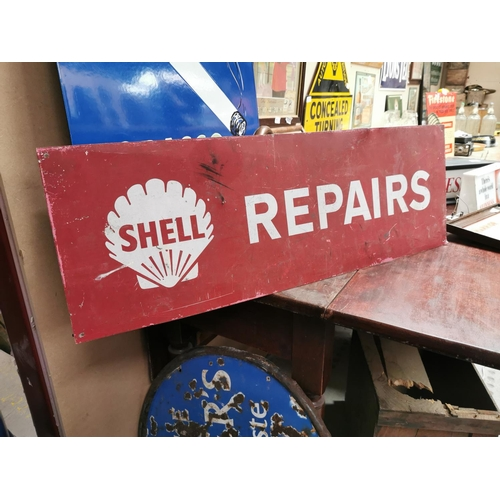 57 - Shelly Repairs alloy advertising sign {30 cm H x 92 cm W}.