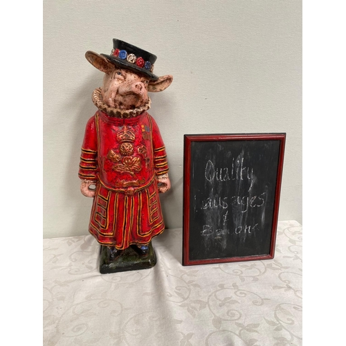 20A - Model of a Pig dressed as a Beefeater with Bar menu board { 61cm H }