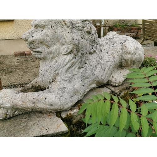 1 - Good quality early 20th C. composition model of a recumbent Lion {59 cm H x 115 cm W x 38 cm D}.