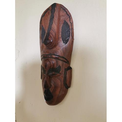31 - Two Polynesian face masks { 56cm H X 17cm W  & 43cm H X 17cm W approx  }.