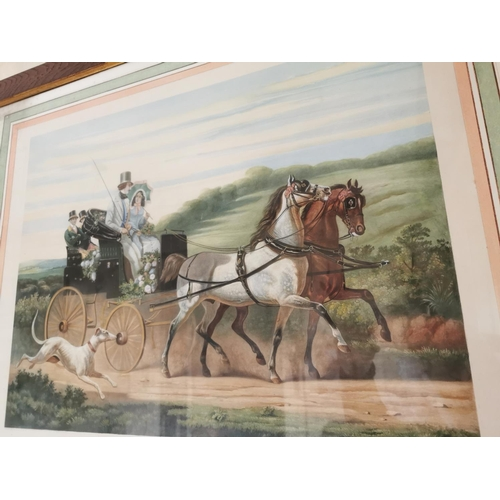 37 - 19th. C. French coloured Coaching print mounted in an oak frame { 72cm H X 86cm W }.
