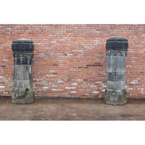 4 - Pair of extremely rare 19th C. limestone pillars from the Parochial House, The Rock, Co. Tyrone {262...