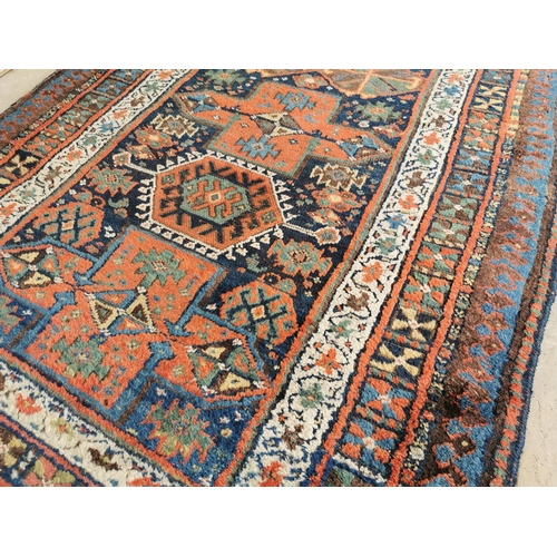 40 - 19th. C. hand knotted woolPersian rug { 218cm L X 140cm W }.