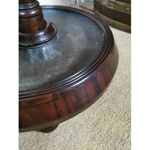 53 - Good quality 19th. C. mahogany coat and stick stand { 210cm H X 57cm Dia }.