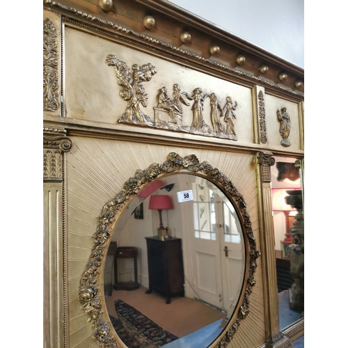 58 - Regency gilt overmantle the three panels decorated with Roman figures above a centre circular plate ...