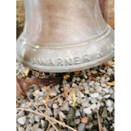 8 - 19th C. bronze Estate bell on original bracket by J Warner & Sons London {51 cm H x 32 cm W x 42 D o...