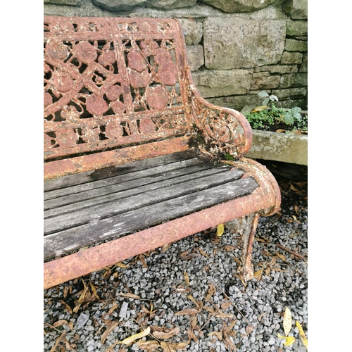 9 - Extremely rare 19th C. Coalbrookdale garden bench decorated with nasturtium {85 cm H x 180 cm W x 70...